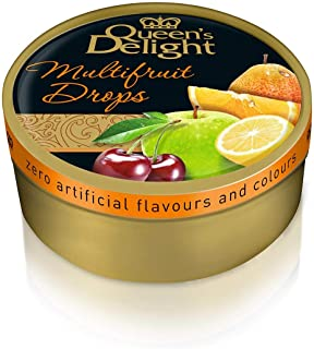 Queen's Delight Natural Ingredients and Real Fruit Juice Hard Candy Multifruit Drops Tin, 5.3 Ounces (150g) - 10 Tins