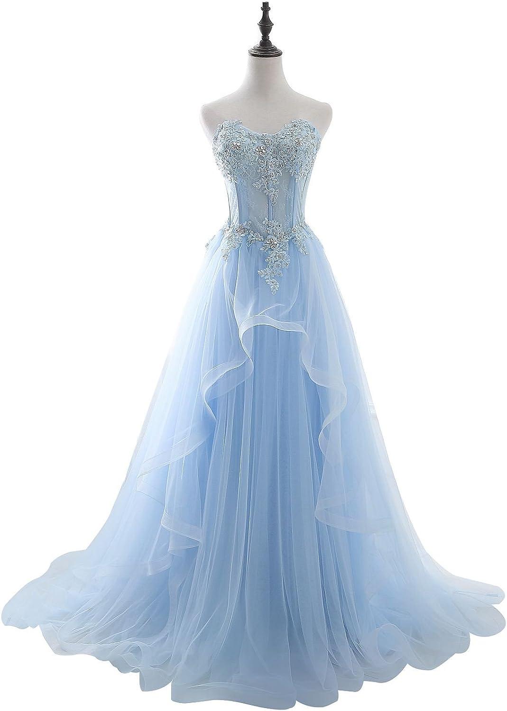 BeautyEmily Rhinestone Strapless Sweetheart Neckline Tulle Gowns