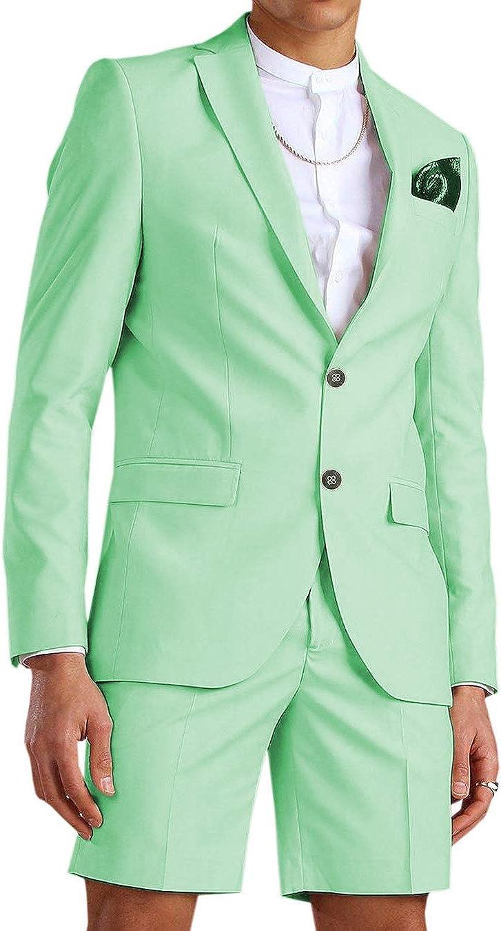 Men's 2 Piece Slim Fit Solid Color Casual Men Suit Set Short Pant Stretch Groomsmen Blazer Tuxedos