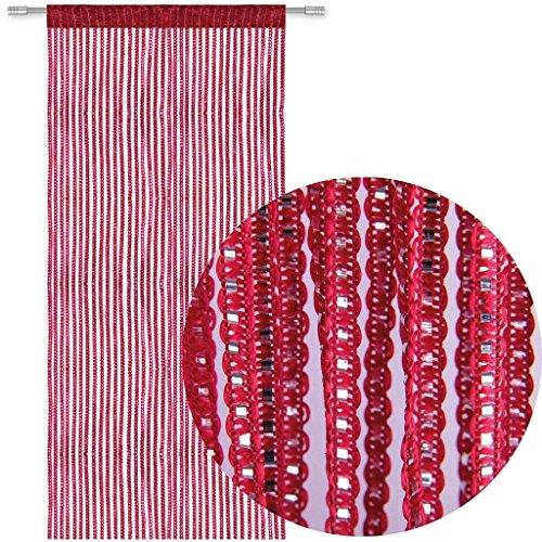 AIZESI Türvorhang Insektenschutz 90x200,Fadengardine Rot Wandvorhang Fadenvorhang Rot String Tür Vorhang mit ösen Insektenschutz Saite für Türen Trennwand oder Fenster Vorhang Panel 90x200cm(Rotwein)