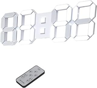 デジタル時計 LED時計 壁掛け時計 3D 15インチ 目覚まし時計 リモコン付き 音なし ランプ年/月/日温度表示 白色のキッチン時計(ACアダプター付属無し)KOSUMOSU ACD-215W