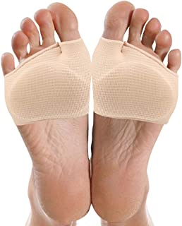 Metatarsal Sleeve Pads, 2 Pairs Fabric Metatarsal Sleeve with Sole Cushion Gel Pads for Diabetic, Ball of Foot Cushions fo...