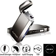 AUTSCA Mechero Eléctrico, Encendedor USB Doble Arco Eléctrico con luz LED Azul, Carga Rápida, Resistente al Viento sin Llama (Cable USB y Caja de Regalo Incluidos)