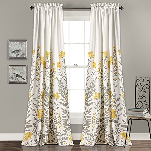 """Lush Decor 16T001634 Aprile Room Darkening Curtains Floral Leaf Design Window Panel Drapes Set for Living, Dining, Bedroom (Pair), 84"""" x 52"""", Yellow and Gray, 2 Count"""