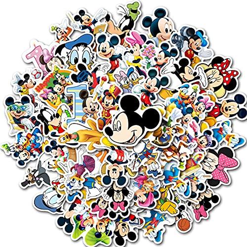 Syijupo 100Pcs Cartoon Mickey Mouse Pegatinas, Pegatinas Infantiles Pared Mickey Dormitorio Álbum Cuaderno Skate Bicicleta Maleta Pegatina