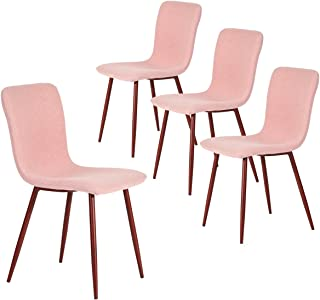 Coavas Set of 4 Dining Side Chairs Fabric Cushion Kitchen Chairs with Sturdy Metal Legs for Dining Room, Pink SCAR-17 …