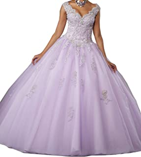 Women's Lace Applique Beaded Ball Gown Quinceanera Dress
