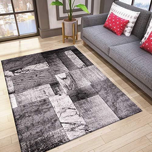 VIMODA Designer Teppich Wohnzimmer Inneneinrichtung Modern Grau, Maße:200x290 cm