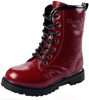 2063a0d901b DADAWEN Boy s Girl s Waterproof Outdoor Combat Lace-Up Side Zipper Mid Calf  Boots