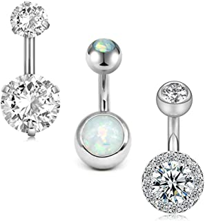 MODRSA Surgical Stainless Steel Belly Button Rings Short for Women Girls 14G Navel Barbell CZ Opal Body Piercing Jewelry B...