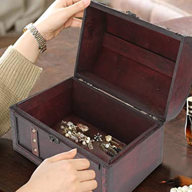 Omabeta 2Pcs Wooden Storage Box Classical Vintage Photography Props Jewelry Treasure Case Desk Organizer for Home Desk Office