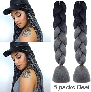 MYCHANSON Long Jumbo Braiding Hair Synthetic High Temperature Fiber African Twist Two Tone Ombre Color Braids(Black Deep Grey & 5pcs)
