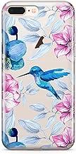 Pack Funda Transparente Colibri Azul Flores Huawei P8 Lite 2017, Carcasa de Gel Silicona con Dibujo Estampado + Protector de Pantalla de Cristal Templado para Huawei P8 Lite 2017