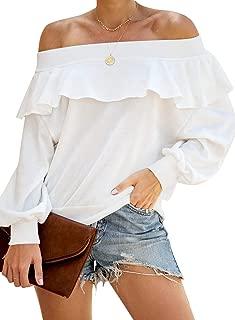 Women's Off Shoulder Ruffle Tops Casual Long Sleeve Pullover Sweatshirts
