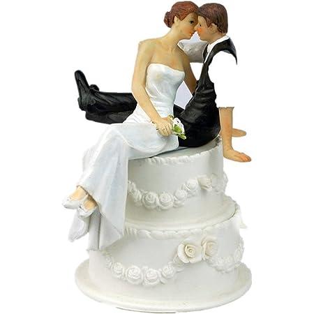 Hotaluyt Résine de Jeunes mariés Figurine gâteau Romantique Topper résine Artisanat Décoration de Mariage
