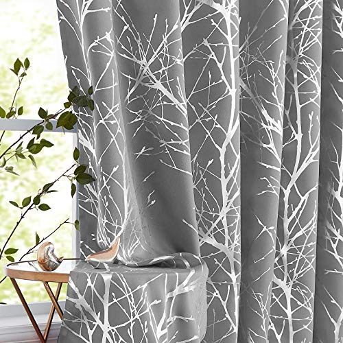 Fmfunctex Metallic Tree Blackout Curtains Bedroom Grey 84-Inch Living-Room Branch Print Curtain Panels Forest Triple Weave Thermal Insulated Drapes for Windows Dorm Hotel Grommet Top, 2Panels