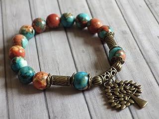 stile tibetano braccialetto vintage perle di giada bianca tinto marrone, arancione e blu, e charms a forma di albero bronz...