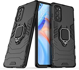 FanTing Case for Oppo Reno4 Pro 5G, Rugged and shockproof,with mobile phone holder, Cover for Oppo Reno4 Pro 5G-Black