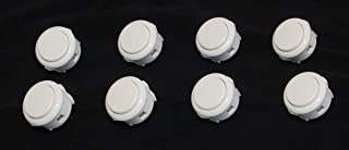 8 pc Set of White Sanwa Push Buttons OBSF-30-W