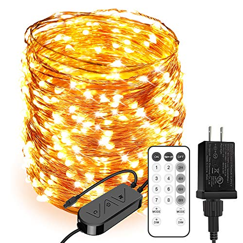 Moobibear LED Ultra Long String Lights 164ft 500 LEDs Starry String Lights, Remote Control Copper Wire Lights with 8 Scene Modes 4 Timer Options for Garden Room Patio Party Christmas