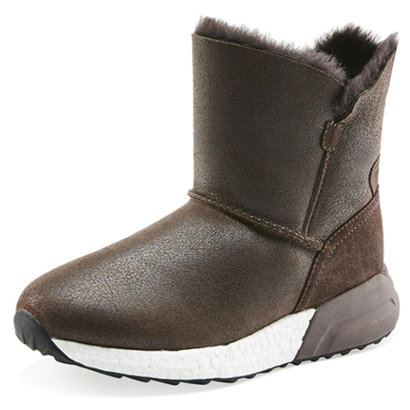 ナプキン理容師イタリックアウトドアハイキングブーツ冬のヒツジ毛皮のスノーブーツクッションショートブーツカジュアルシューズ防水靴の女性 安全?保護用品 (Color : Brown, Size : 40)