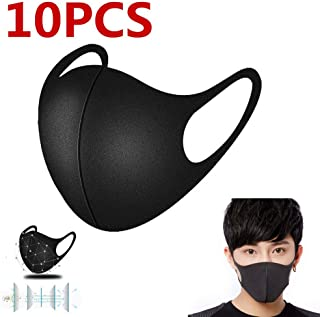 Fashion Mouth Cover Unisex Washable and Reusable Cotton Warm Face Cover PM 2.5 Windproof Cycling Facemask Washable Face Cover for Outdoor, Sports, Motorcycles (10-Pack Black)
