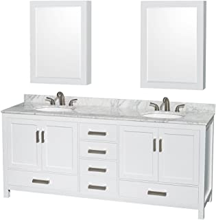 Wyndham Collection Sheffield 80 inch Double Bathroom Vanity in White, White Carrara Marble Countertop, Undermount Oval Sinks, and Medicine Cabinets - coolthings.us