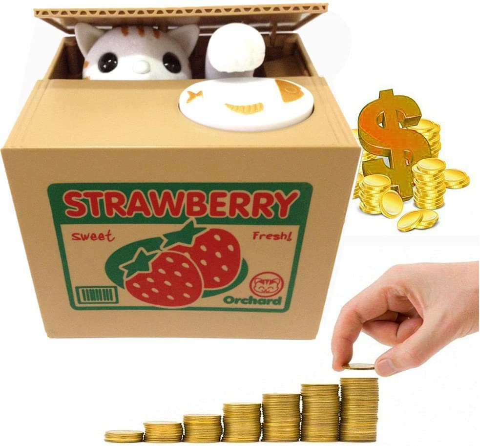 HmiL-U Stealing Coin Money Box Automatic Stealing Coin Cent Penny Cat Piggy Bank With Voice Christmas//Birthday Gift for Kids Child Orange-Cat