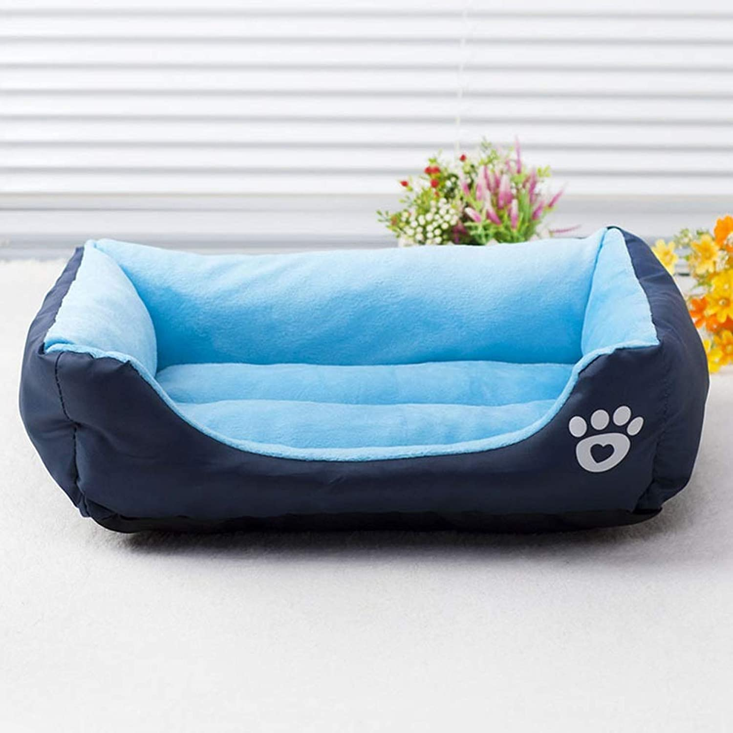 QYQ Portable Pet Mattress Nest Bed Blankets Dog Kennel Mats Cushion Pet Pads Comfortable And Warm Resistant to Bite Antiwrinkle to Use for Pets to Rest or Sleep in Winter (color   bluee, Size   S)