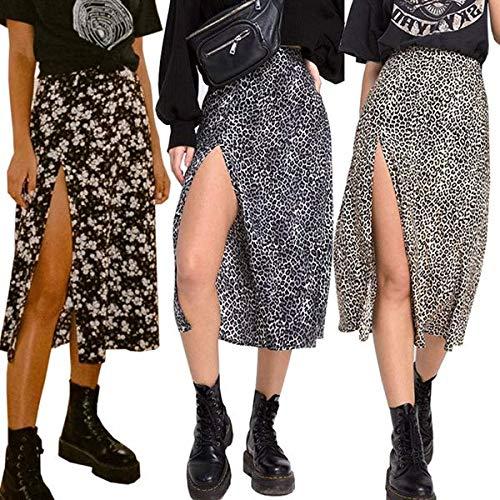 Las mujeres Split Leopard falda larga falda sexy mujer flor suelta señoras ropa