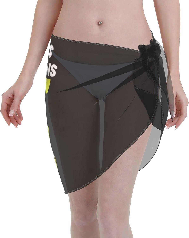 I Bless The Rains Down in Africa Women Short Sarongs Beach Wrap Sheer Bikini Wraps Chiffon Cover Ups for Swimwear Sexy Wrap Around Dress Black
