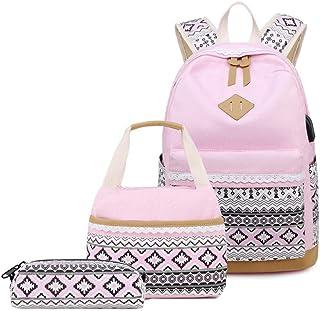حقيبة ظهر ميتورماي للفتيات المراهقات من القماش بتصميم نقاط حقائب مدرسية للكتب 3 في 1 حقيبة ظهر للكمبيوتر المحمول