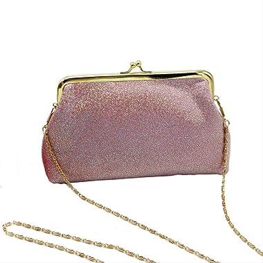 JJH Frauen Shiny Glitter Clutch Handtasche Tasche Abendgesellschaft Hochzeit Brautbankett Handtasche Umhängetasche Mit Kette