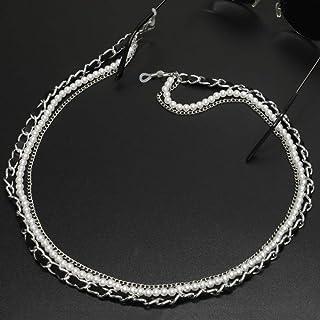 YIEBAI Cadena de Gafas de Sol con Perlas Blancas, cordón para Mujer con Correa, Accesorios para Gafas para Dama (Solo Cade...
