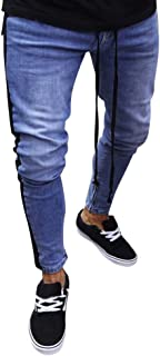 TANLANG Men's Ripped Skinny Distressed Destroyed Slim Fit Stretch Biker Jeans Pants with Holes