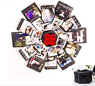Creative Explosion Box -Scrapbook DIY Photo Album Box for Birthday Anniversary Valentine Day Wedding(Black).