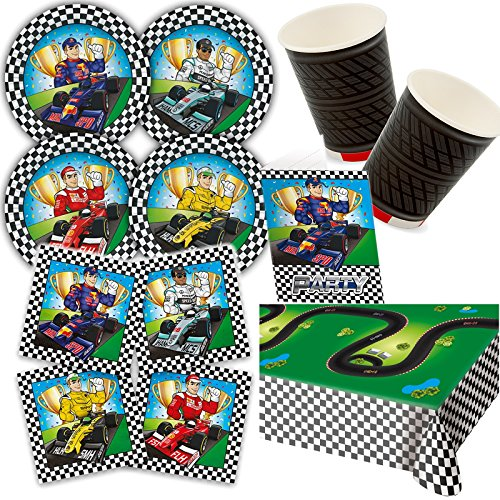Carpeta 97-teiliges Party-Set * Formula * für Kindergeburtstag und Mottoparty mit Teller + Becher + Servietten + Einladungen + Tischdecke + Luftschlangen + Ballons // Dekoration Rennen Rennwagen