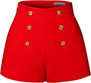 RK RUBY KARAT Womens High Waisted Front Button Retro Vintage Pin up Sailor Shorts Pockets