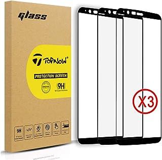 [3 piezas] OnePlus 5T Protector de pantalla, topnow 2.5d cobertura total 9H Dureza Templado Vidrio Protector de pantalla película para One Plus 5T -- negro Black