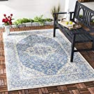 Safavieh South Bay Multipurpose Indoor/Outdoor Rug, Woven Polypropylene Carpet in Blue / Creme, 160 X 230 cm ,BHS137M-5
