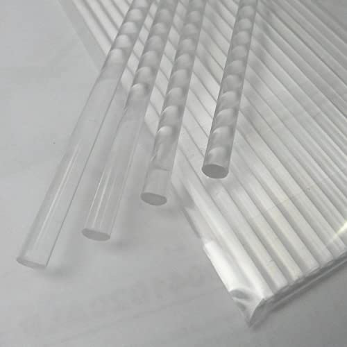 """Weststone - 35pcs acrylic Rods, Round, Transparent Clear, Standard Tolerance with size of 4"""", 6"""", 8"""", 10"""" and 12"""" (8""""..."""
