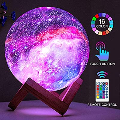 BRIGHTWORLD Moon Lamp Kids Night Light Galaxy Lamp 5.9 inch 16 Colors LED 3D Star Moon Light with Wood Stand, Remote & Touch Control USB Rechargeable Gift for Baby Girls Boys Birthday by BRIGHTWORLD