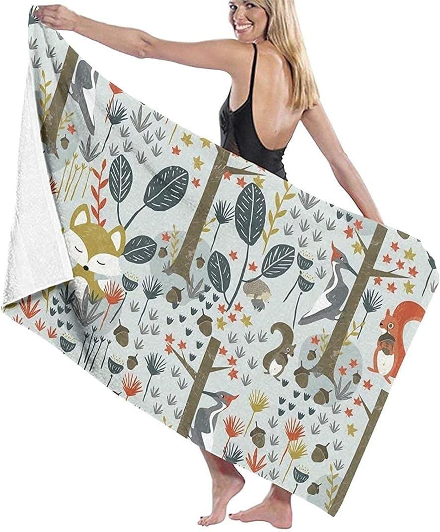 Beach Towel Large Bath Woodland Animals Microfiber Max Cheap mail order shopping 76% OFF Rustic