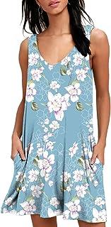 BISHUIGE Women Summer Casual T Shirt Dresses Beach Cover up Plain Pleated Tank Dress