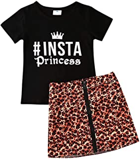 BOIZONTY Toddler Baby Girls Camouflage Outfit Black Letter Tops T-Shirt + Skirt Dress Shorts Summer Two Piece Clothes Set