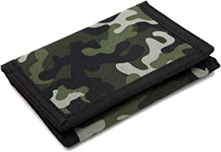 RFID Wallet Camouflage Wallet Nylon Trifold Wallets for Men,Mini Trifold Coin Purse with Zipper for Kids