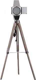 HOMCOM Lampadaire trépied projecteur Style Industriel néo-rétro Hauteur réglable 65L x 65l x 103-146H cm Bois Acier métalisé
