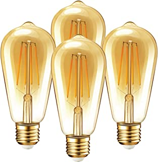 Vintage Edison Dimmable LED Light Bulbs, Palawell 6W (60 Watt Equivalent) Antique Amber Gold Filament Light Bulb, Warm Color 2400K - 30,000 Life Hours - 500 Lumens - ST64 E26 Base - UL Listed (4-Pack)