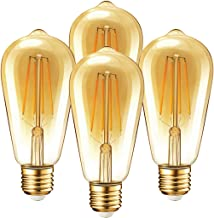 Vintage Edison Dimmable LED Light Bulbs, Palawell 7W (70 Watt Equivalent) Antique Amber Gold Filament Light Bulb, Warm Color 2400K - 30,000 Life Hours - 500 Lumens - ST64 E26 Base - UL Listed (4-Pack)