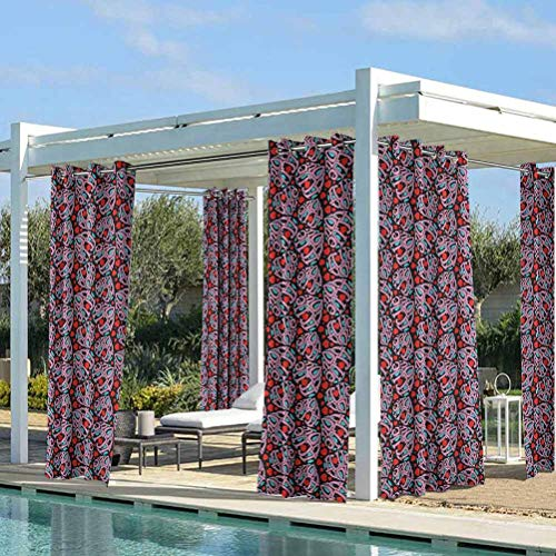 ParadiseDecor I Love You Fashion Curtains for Pool/Gazebo/Lawn Composition of The Letters in The Shape of a Heart Declaration of Love Feelings Multicolor 104W x 63L Inch